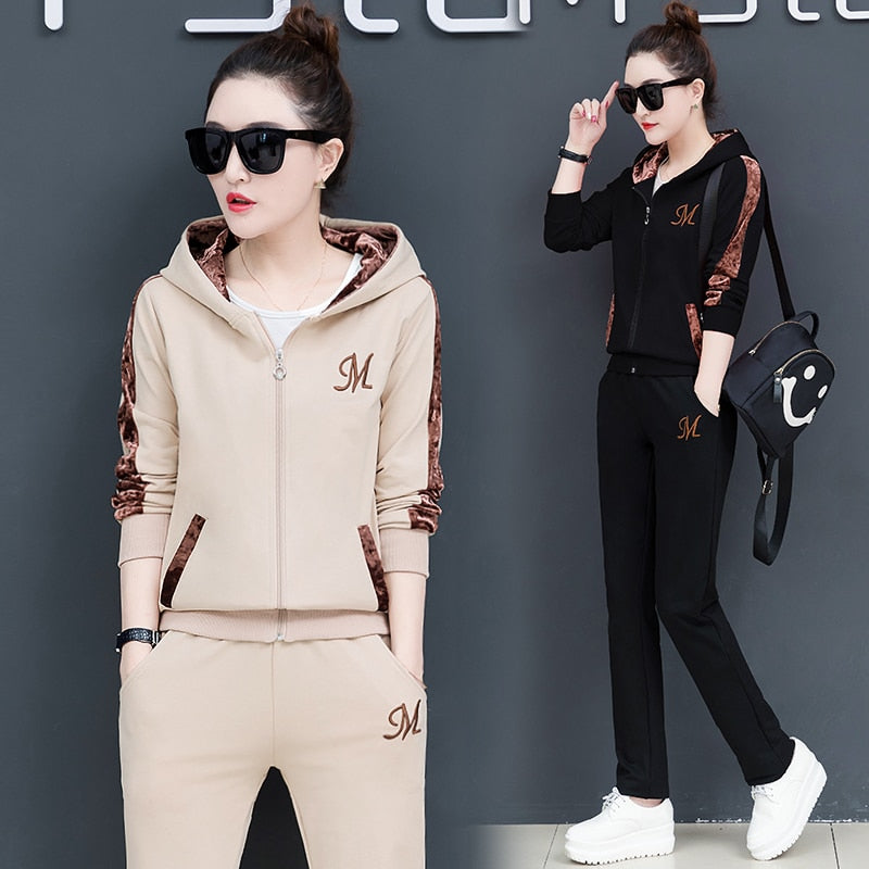 plus size 2019 spring autumn women two piece set top and pants outfits long sleeve Sweatshirts lounge wear korean tracksuit - Modemoven
