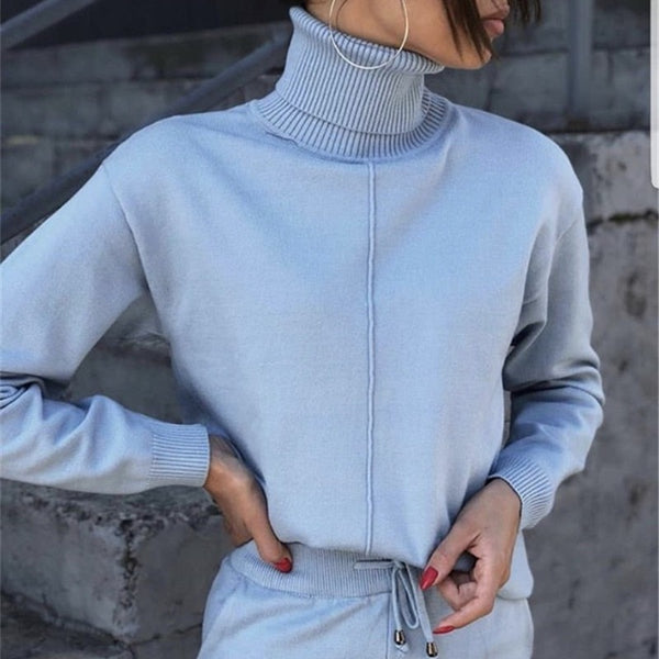 FORERUN Women Two Piece Sweater Outfit Turtleneck Sweater Knitted Pullover and Knitted Pants 2 Piece Autumn Suits and Set - Modemoven