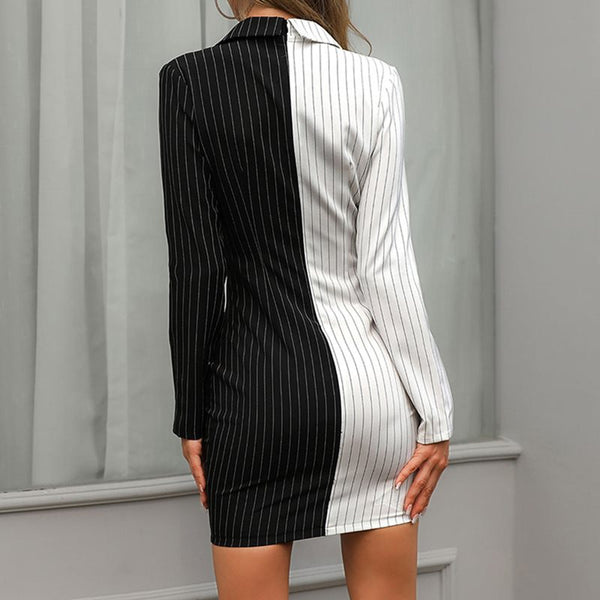 Slim Stripe Contrast Color Career Women's Dress Suit Black White Button Female Office Look 2019 Summer Autumn Office Lady Dress - Modemoven