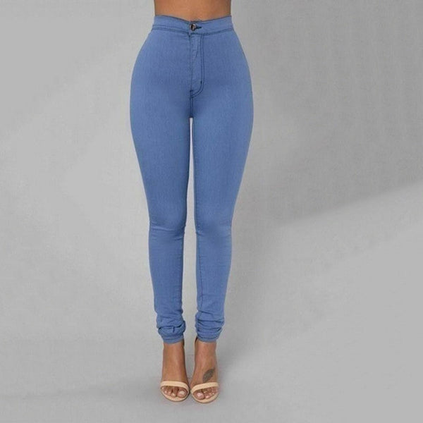 Pencil Jeans Women Stretch Casual Denim Skinny Pants  Ladies Fashionable High Waist Tight Trousers 5 Color Hot - Modemoven
