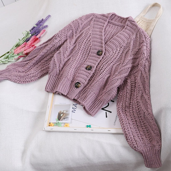 Autumn and Winter Women's Knit Cardigan Short Cardigan Tops Chic Students Loose Solid Color Single-breasted Sweater GD149 - Modemoven