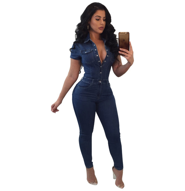 one piece jumpsuits for women 2019 plus size Fashion Elegant Style 2018 Bodycon rompers Short Sleeve overalls Denim Jumpsuit - Modemoven