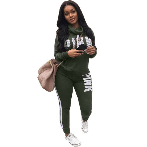 Letter pink Suit Set 2019 Women Tracksuit Two-piece Sport Style Outfit Jogging Sweatshirt Fitness Lounge Sportwear - Modemoven