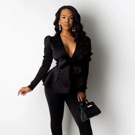 Adogirl Bow Ruffle Fashion Casual Two Piece Set Office Lady Business Suit V Neck Long Sleeve Blazer Top Pencil Pants Work Wear - Modemoven