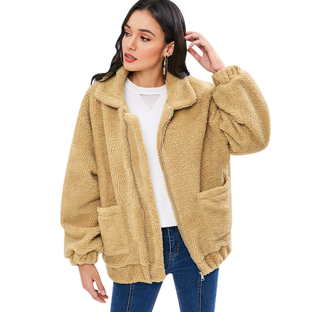 Zip Up Fluffy Winter Coat Fashion Women Lamb Wool Loose Jacket Coat Pocket Soft Sherpa Coat Autumn Winter Ladies Tops - Modemoven