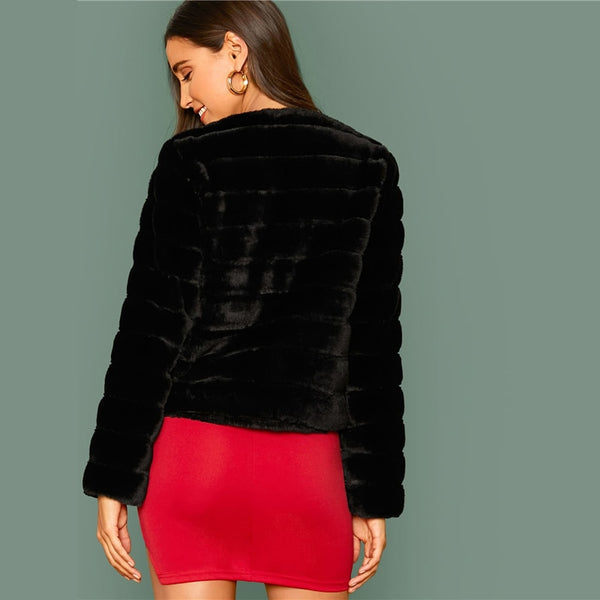 Black Open Front Faux Fur Coat Women Winter Long Sleeve Highstreet Ladies Solid Glamorous Outwear Party Coats - Modemoven