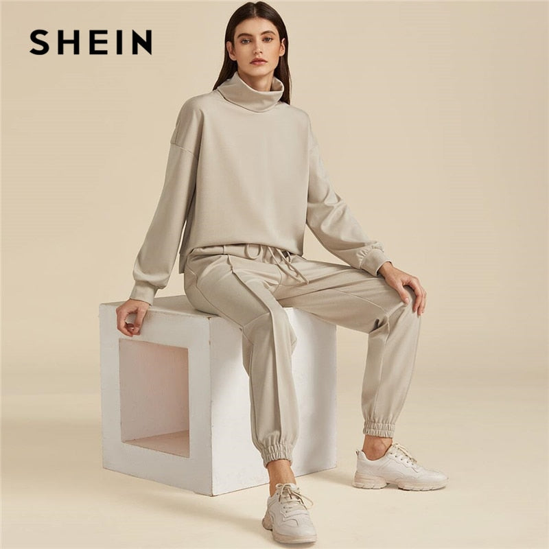 SHEIN Khaki Solid High Neck Sweatshirt And Drawstring Waist Sweatpant Suit Set Autumn Active Wear Drop Shoulder Casual Outfits - Modemoven