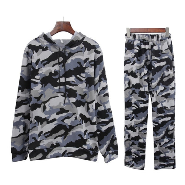 Two Piece Set Women Tracksuit Autumn Winter Ladies Pants Sweat Suits Camouflage Hooded Clothing Outfits Femme Lounge Wear - Modemoven