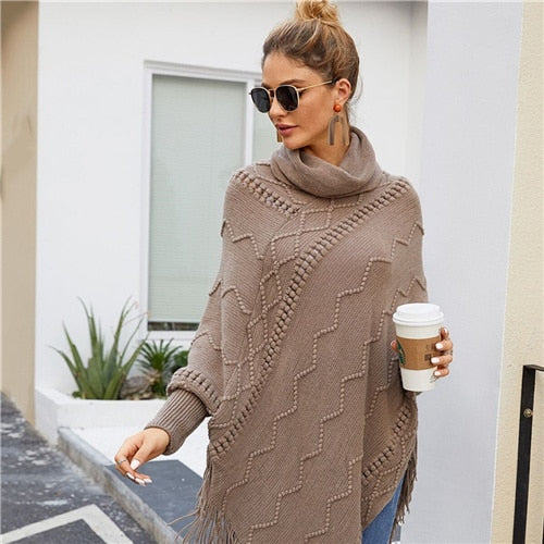 High Neck Solid Fringe Hem Casual Poncho Sweater Women Tops Autumn Winter Streetwear Long Sleeve Ladies Longline Sweaters - Modemoven
