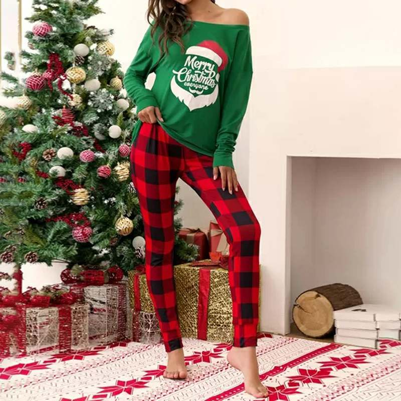 Christmas Women's Sets 2019 Fashion Sexy One Shoulder Tops Plaid Print Pants Two Piece Outfit Casual Long Sleeve Blusas Clothing - Modemoven