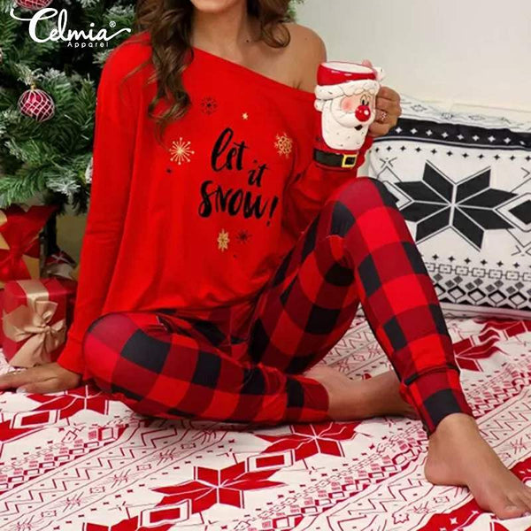 2019 Christmas Graphic One Shoulder Tops Plaid Print Pants Pajamas Two Piece Outfit Casual Long Sleeve Sleepwear Clothing - Modemoven