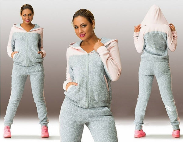 Patchwork Hooded Zipper Suit Set 2019 Women Tracksuit Two-piece Sport Style Outfit Jogging Sweatshirt Fitness Lounge Sportwear - Modemoven