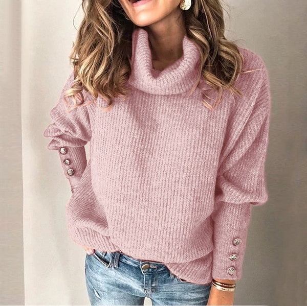 2020 Winter Pullover Sweater Women Knitted Tops Button Boho Plus Size Casual Long Sleeve Pull Female Solid Sweaters Pullovers - Modemoven