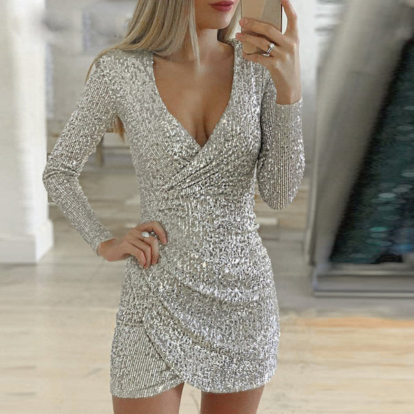 Women Sequined Dress Sexy V Neck Long Sleeve Dresses 2019 Autumn Winter Female New Year Party Dress Vestidos Sequin Dress - Modemoven