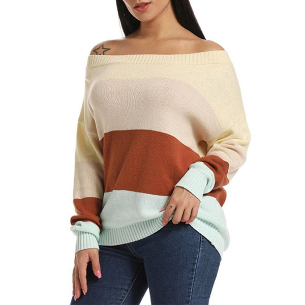 Women Plus Size Long Sleeve Knit Sweaters Sexy Off The Shoulder Casual Loose Pullover Tops Color Block Patchwork Rib Trim Jumper - Modemoven