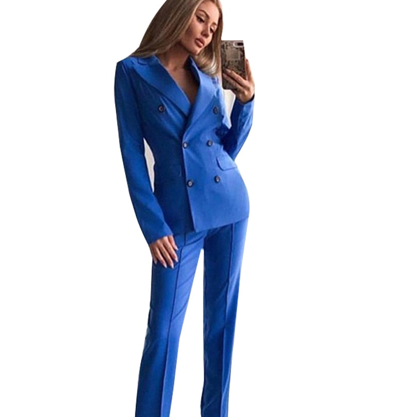 MVGIRLRU Office Lady Blazer Pant Suits Women's Notched Collar Buttons Jacket and Straight Trousers 2 Piece Sets - Modemoven