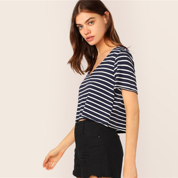 Striped Short Sleeve Top Black And White Summer V neck Tee 2019 Casual Crop Regular Fit Women Clothing T Shirts - Modemoven