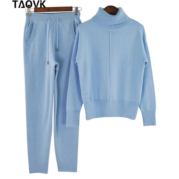 TAOVK Winter Woolen Knitted Warm Suit High Collar Sweater + Mink Cashmere Pants Loose Style Two-piece Set Knit - Modemoven