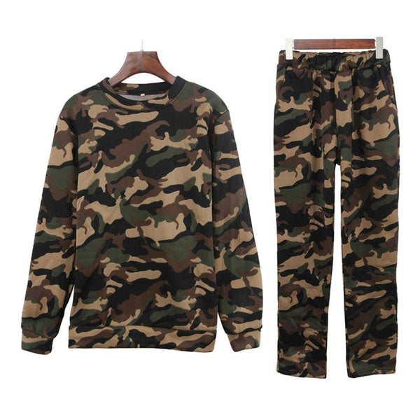 Plus Size Autumn Sport Suite for Women Camouflage Club Outfit Tracksuit for Femme Playsuit Sets Lounge Wear Ladies Top Suit Pant - Modemoven