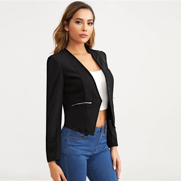 Black Open Placket Zip Detail Blazer Women Spring Autumn Solid Fitted Outwear Office Ladies Elegant Coat Blazers - Modemoven