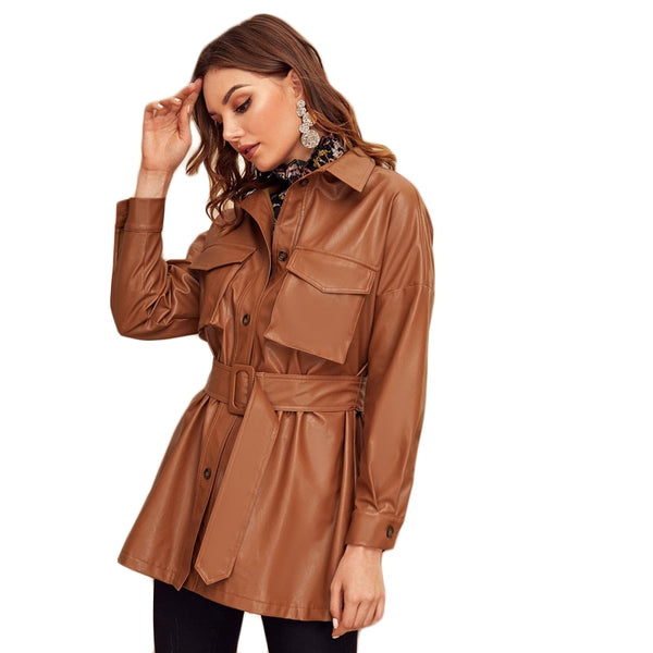 Brown Flap Pocket Front Faux Leather Belted Coat Women Spring Winter Solid Long Sleeve Casual Outwear PU Coats - Modemoven