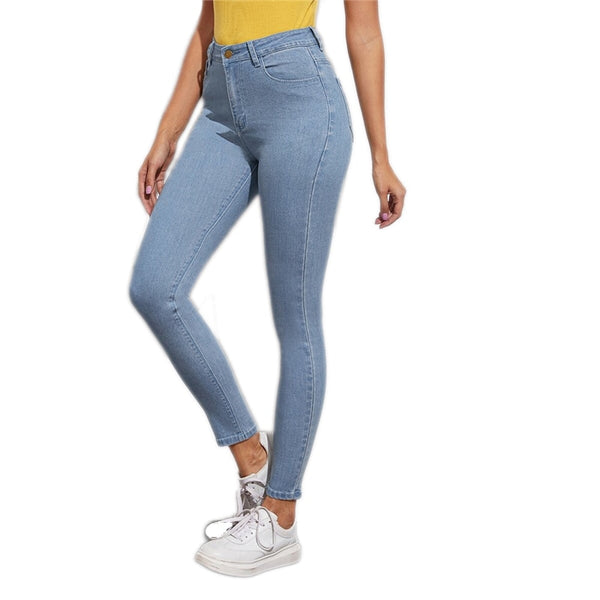 SHEIN Blue Solid Light Wash Five-Pocket Stretchy Cropped Casual Jeans Women Bottoms Spring Button Fly Skinny Denim Trousers - Modemoven