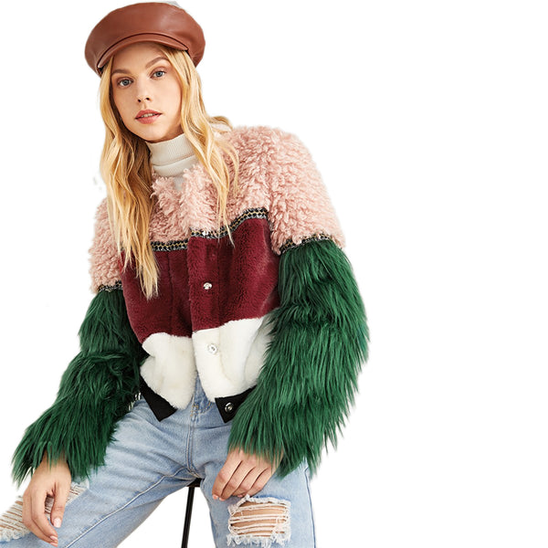 Multicolor Color Block Faux Fur Coat Casual Highstreet Patchwork Long Sleeve Outerwear Women Winter Modern Lady Coats - Modemoven
