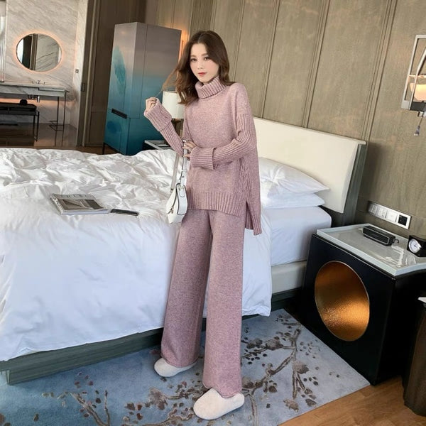 Sweater Set Women Winter Knitted Suits 2 Piece Set Soild Turtleneck Sweater + Loose Trousers Office Lady Suit 2019 Warm Pullover - Modemoven