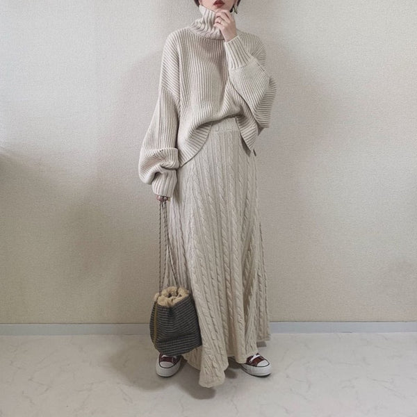 Elegant Two Piece Sets Autumn Turtleneck Knitted Sweater and Long Dress Korean Sweet Office Winter Warm Women Sets Causal Suit - Modemoven