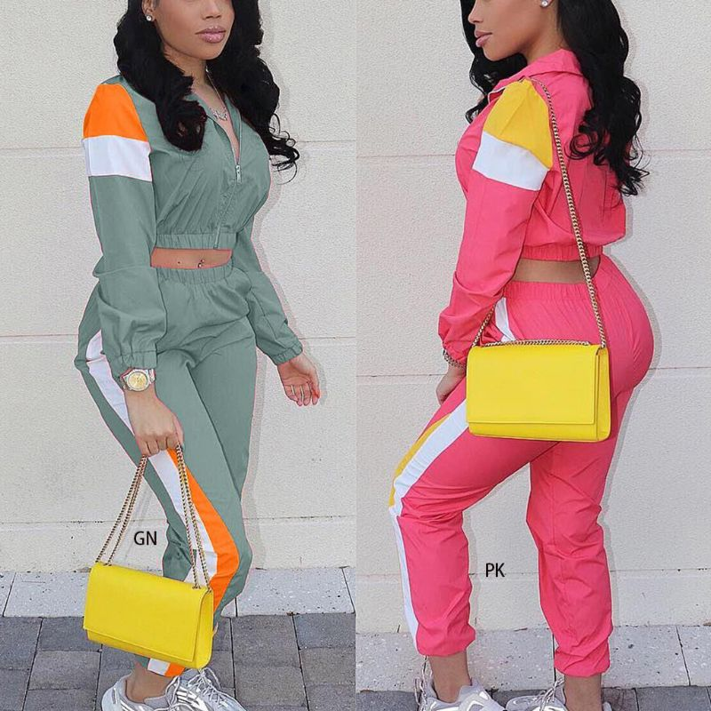 Women 2Piece Color Block Outfits Tracksuits Stripe Patchwork Long Sleeve Zip Jacket Crop Top Skinny Ankle Length Pants Sweatsuit - Modemoven