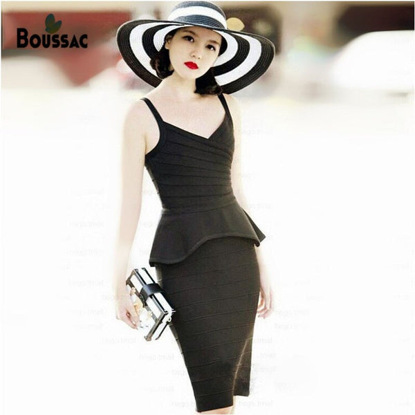 Women Sexy High Quality Top and Skirt Sets Office Wear Dating Wear V Neck Top With Ruffles Knee Length Skirt Special Price - Modemoven