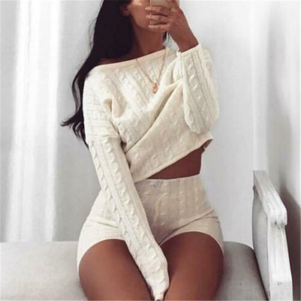 New Women Cable Knit Crop Top Lounge Wear Suit Ladies Co ord 2pcs Tracksuit Set lounge wear solid crop top shirts shorts pants - Modemoven