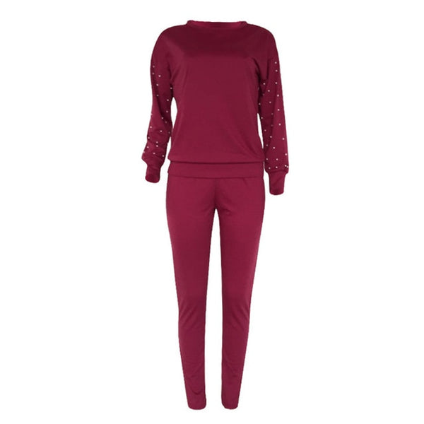 Women TWO PIECE SET Pearl Tracksuit Beading Top Pullover Pants Long Sleeve Outwear 2 Piece Ladies Suits Sweatshirt Spring Autumn - Modemoven