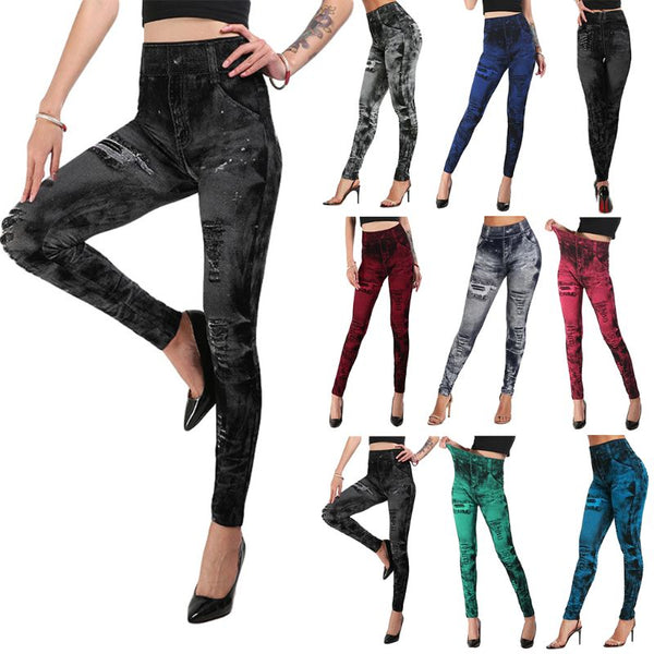 Women Imitation Distressed Denim Jeans Leggings Pants Lady Female  Casual High Waist Slim Elastic Pencil Pants S-3XL - Modemoven