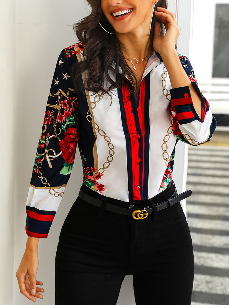 2020 Women Fashion Elegant Office Look Work Wear Party Shirt Female Tops Weekend Floral & Chains Print Casual Blouse - Modemoven