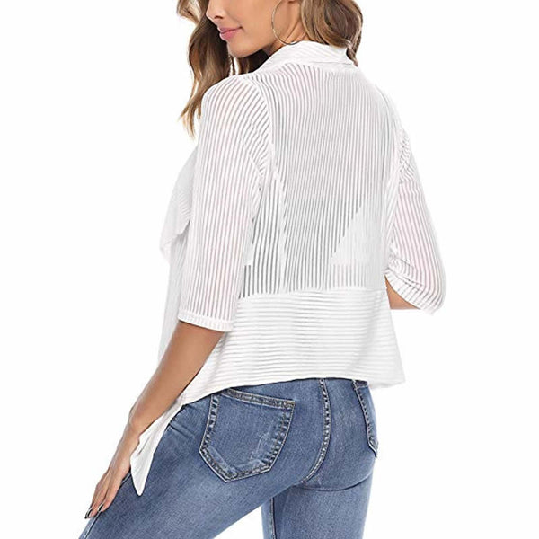 Irregular Striped Women Blouse And Tops Fashion Office Ladies Work Autumn Cardigan Sexy See Through Look Backless Ourwear Tops - Modemoven
