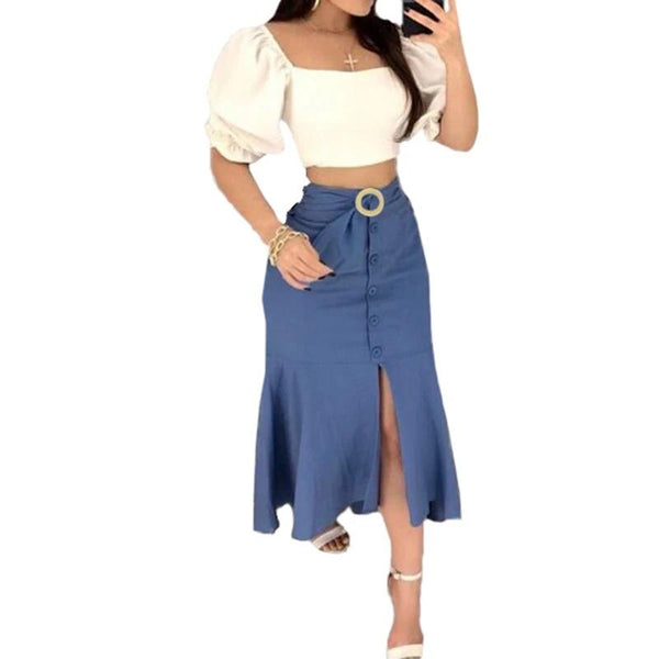 Solid Buttons Bodycon Denim Skirts VONDA Womens Casual Plus Size Back Zip Slim Skirt Summer Lady Fashion Simple Wild Jean Skirts - Modemoven