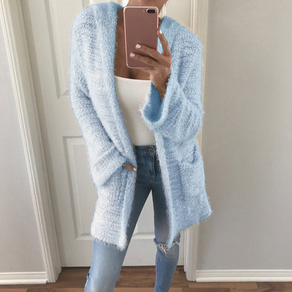 Women's Hooded SweaterSleeve Women Fashion Casual Outwear Solid Warm Tops Autumn Winter Cardigan Corn Velvet Long - Modemoven