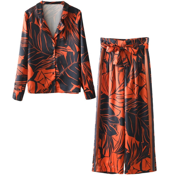 Women's suit Europe and the United States tropical seaside beach holiday suit casual pajamas printing two / piece set - Modemoven