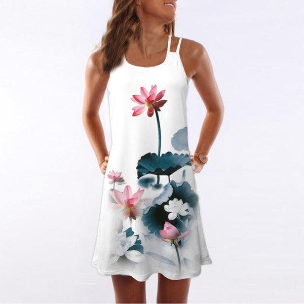Women Summer Vintage Sleeveless 3D Floral Print Bohe Tank Short Mini Dress