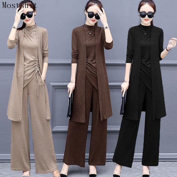 Knitted 3 Pieces Set Women Tracksuit Long Sleeve Cardigan and Sleeveless Pullover Tops and Wide Leg Pants Suit Women's Sets 2019 - Modemoven