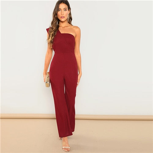 SHEIN Burgundy Modern Lady One Shoulder Sleeveless Flared Mid Waist Skinny Maxi Jumpsuit Summer Highstreet Women Jumpsuits - Modemoven