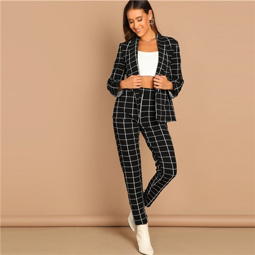SHEIN Black Stretchy Grid Print Shawl Collar Plaid Long Sleeve Blazer Pants Set Women Autumn Workwear Morden Lady Twopiece - Modemoven