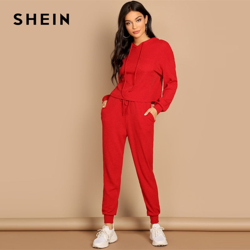 SHEIN Red Pocket Patched Solid Hoodie and Drawstring Waist Pants Plain Set Women Two Pieces Sets 2019 Autumn Plain Twopiece - Modemoven