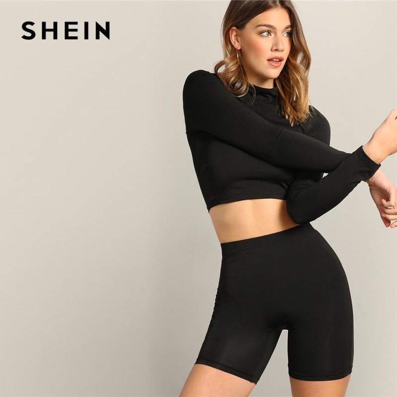 SHEIN Black Mock-neck Crop Fitted Top And Leggings Shorts Set Women 2019 Summer Long Sleeve Stand Collar Casual Twopiece - Modemoven