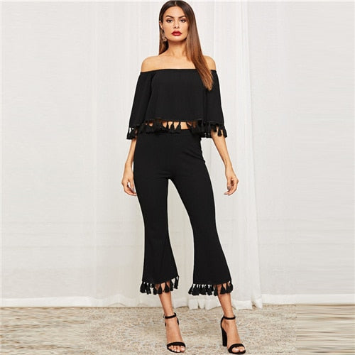 SHEIN Black Bell Sleeve Tassel Hen Bardot Half Sleeve Top And Flare Pants Set Crop Top Off the Shoulder Women Two Piece Sets - Modemoven