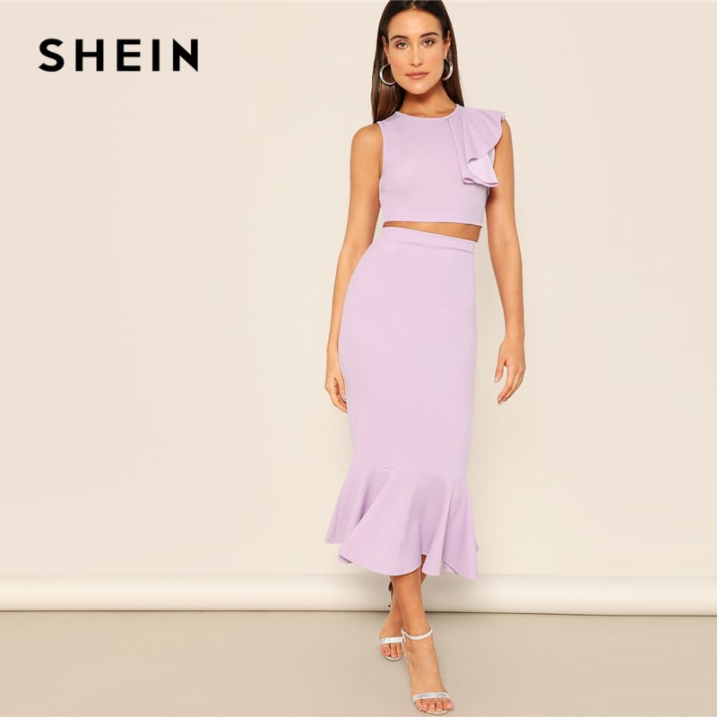 SHEIN Purple Zip Back Ruffle Trim Crop Top And Mermaid Skirt Set Women 2019 Summer Round Neck Sleeveless Casual Twopiece - Modemoven