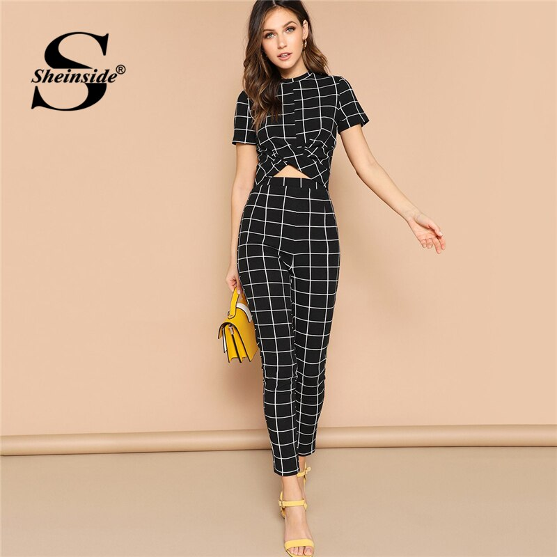 Sheinside Black Cross Wrap Bodycon TShirt Grid Two Piece Set Top And Pants 2019 Elegant Crop Tops Women Short Sleeve 2 Piece Set - Modemoven
