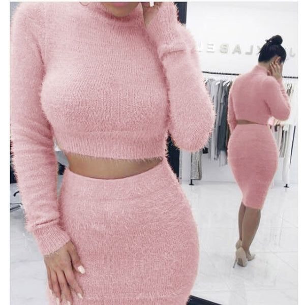 Two Piece Set Women Sweater +Pencil Skirt Suit Long sleeve Fleece Crop Tops Bodycon Skirt 2 Pieces Set Women Knitted Tracksuit - Modemoven