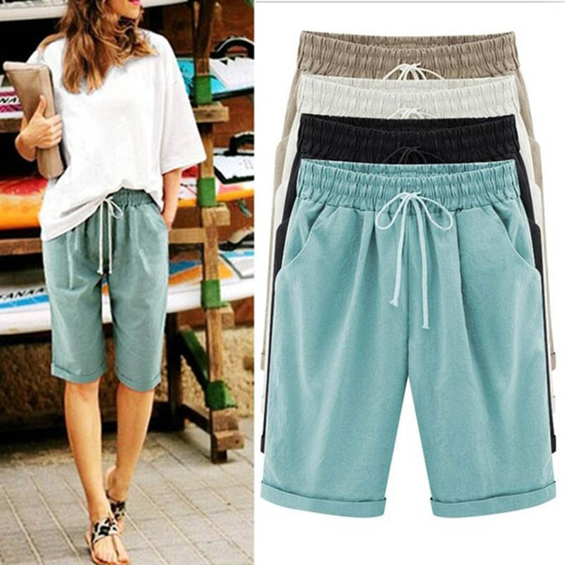 Women's Solid High Waist Harem Pants Capris Plus Size 6XL Summer Beach Womens Trousers Spring Black Casual Loose Women Clothes - Modemoven